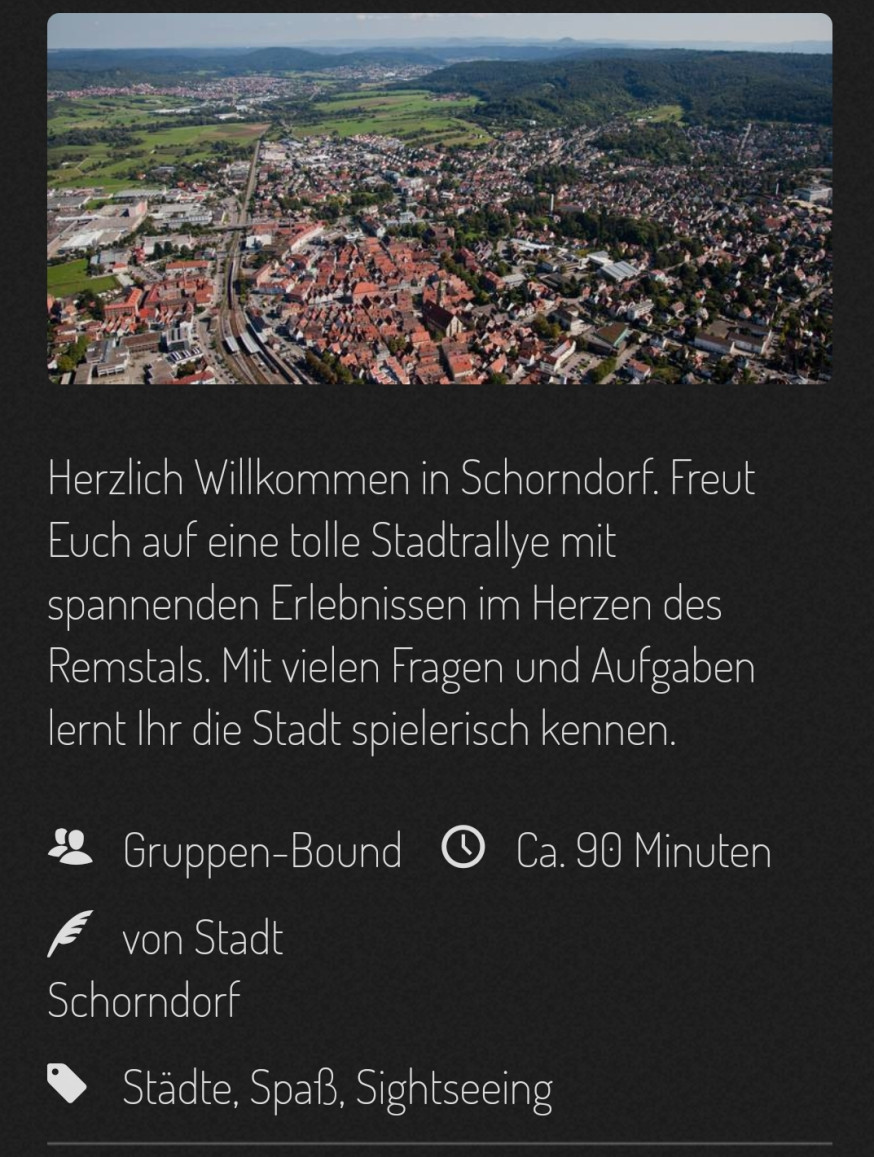 "Screenshot ""Tour de Schorndorf"" in der Actionbound-App"