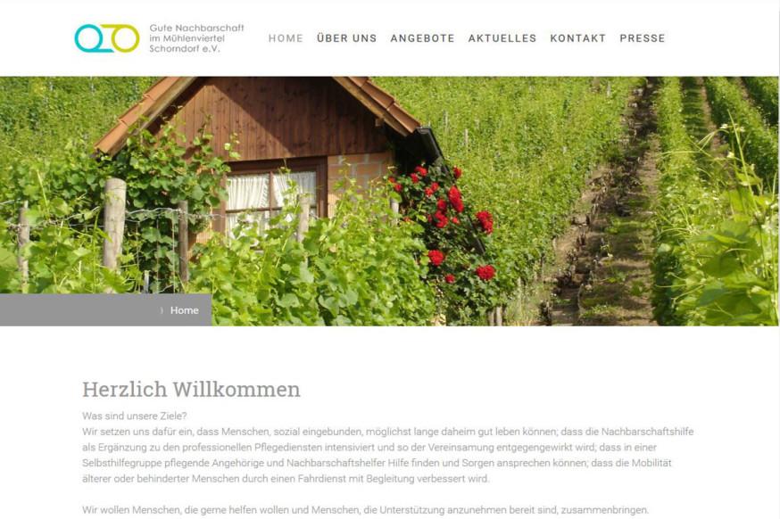 """Die Website des Projekts """"Leben im Mühlenviertel""""."""