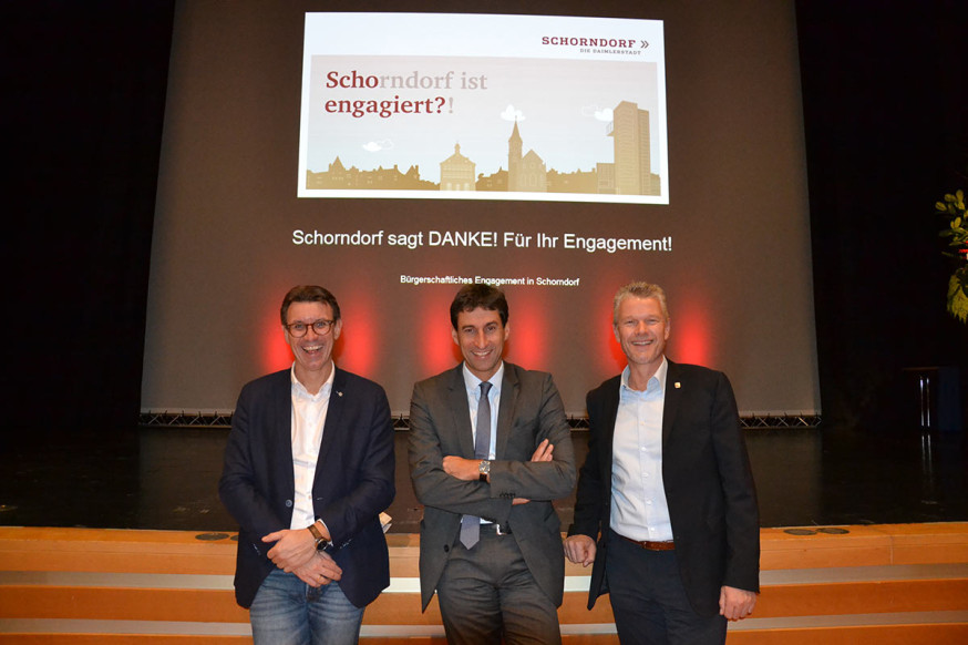 BM T. Englert, OB M. Klopfer und EBM E. Hemmerich beim Ehrenamtsfest 2018.