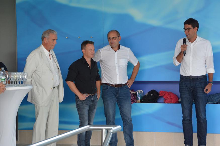 Architekt Gerold Haas, Jörg Bay, Andreas Seufer und OB Klopfer.