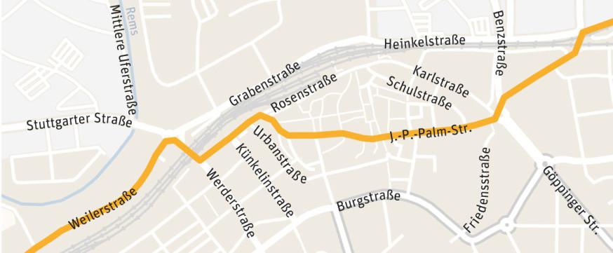 Die Strecke des Remstalmarathons durch Schorndorf.