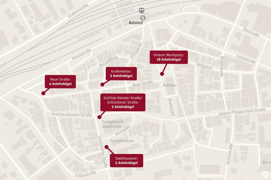 Die Standorte der neuen Radabstellplätze in der Innenstadt.