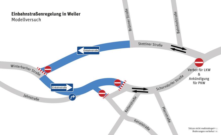 Für ein Jahr wird der Verkehr in Weiler neu geregelt.