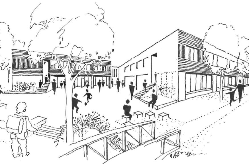 Diese Skizze zeigt, wie die Rainbrunnenschule einmal aussehen soll.