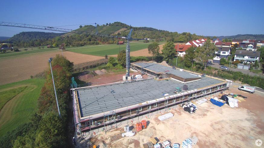 Luftaufnahme des Rohbaus der Kita Stöhrerweg