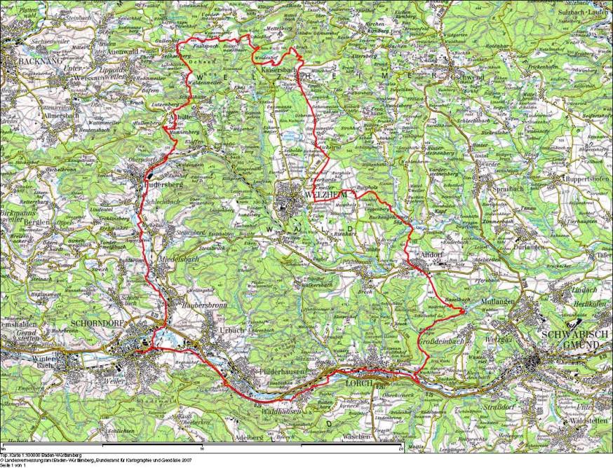 Rennradstrecke 75 Kilometer